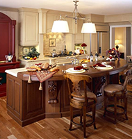 Red, White, Brown Kitchen